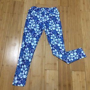 Other - Charlies Project Leggings Blue Floral Hibiscus
